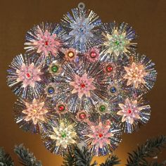 Lighted%20Retro%20Silver%20Tinsel%20Flower%20Christmas%20Tree%20Topper%20-%20Multi-Color%20Lights.jpg (450×450)
