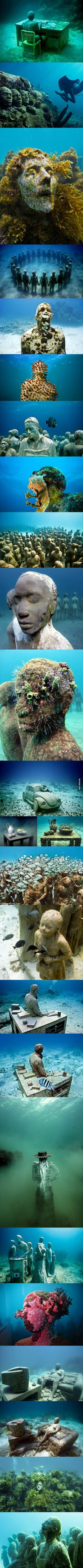 Underwater statues by artist Jason deCaires Taylor get slowly engulfed by moss and plants overtime.