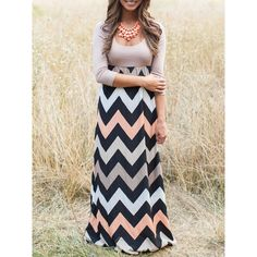 Scoop Neck Zigzag Maxi Coffee Dress (19 AUD) ❤ liked on Polyvore featuring dresses, multicolor, striped dress, holiday party dresses, stripe dresses, colorful maxi dress and sleeved maxi dress