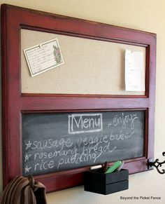 bulletin board/chalkboard from an old cabinet door!