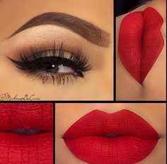 Bright red lips // eyeshadow