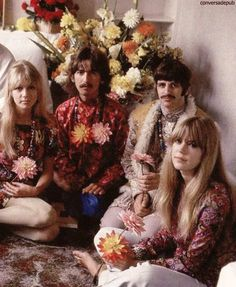George and Pattie with Ringo and Jenny Boyd in Bangor, Wales before they all went to study in Rishikesh, India - 1967