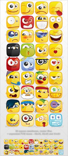 36 Square emoticons PACK #characters