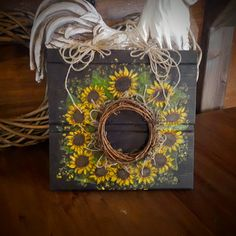 Yellow Sunflowers - Sunflower Sign - Tole Painted - Reclaimed Wood - Hand Painted Sign - Sunflowers - Wall Hanging - Front Door Decor - by Rustiikkitupa on Etsy Ooak Dolls, Art Dolls, Ceramic Pendant, Yellow Sunflower, Hand Painted Signs, Front Door Decor, Fairy Art, Wood Paneling, Beautiful Birds