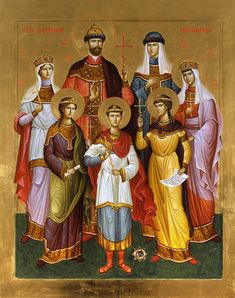 Icon of the last Russian Royal Family canonized as martyrs by the ROCOR Byzantine Icons, Byzantine Art, Religious Icons, Religious Art, Alexandra Feodorovna, Czar Nicolau Ii, Russian Icons, Tsar Nicholas, Orthodox Icons