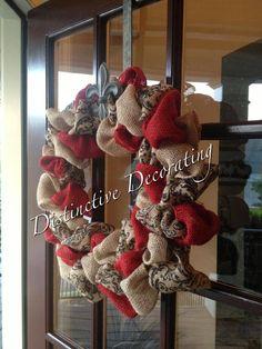 burlap wreath - natural red & damask
