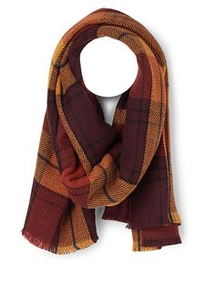 - Checks on one side and chevron stripes on the other side in a rich fall palette - Ultra wide enveloping design that offers multiple styling options - Fringes at the ends - Made in Germany Plaid Blanket Scarf, Graphic Patterns, Stay Warm, Trendy Fashion, Shawl, Women Accessories, Scarves, Stripes, Fringes