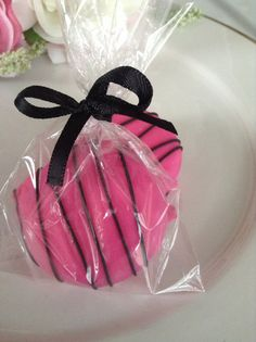 Hot Pink Favors Black Favors Sweet 16 Party by PartyTimeChocolates