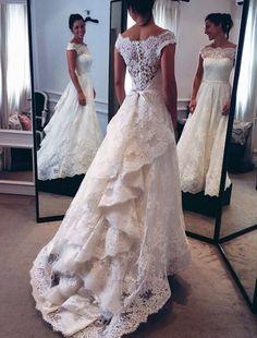 New Design A-Line Lace Wedding Dress Boat Neck Cap Sleeve Chapel Train Bridal Dress Vestido de noiva