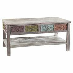 """Add a lovely touch to your living room or den with this eye-catching fir wood coffee table, showcasing 2 drawers and 1 open shelf for added storage.  Product: Coffee tableConstruction Material: Fir woodColor: Lime, purple, aqua and peachFeatures:  Two drawersOne open shelfDimensions: 20.25"""" H x 42"""" W x 23.75"""" D"""