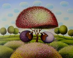 Blossoms All Over by #Gabriele_Elgaafary and her little #sweet #sheep. Freshly made painting