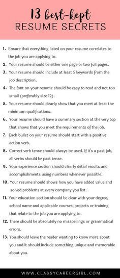 Best-Kept Resume Secrets Some hiring managers will toss your resume out if you don't know these 13 resume secrets.Some hiring managers will toss your resume out if you don't know these 13 resume secrets. Resume Help, Resume Tips, Resume Review, Resume Ideas, Cv Tips, Skills For Resume, Resume Writing Tips, Best Resume Examples, Professional Resume Examples