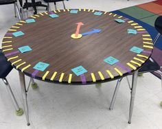 Create a click on a round table with students to learn to tell time to the nearest minute.