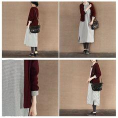 Stripe Long Dress Winter Cotton Top Causel Women Clothes