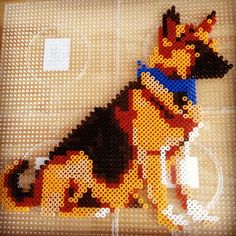 German Shepherd dog perler beads by retrobeadshack