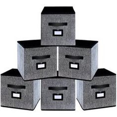 homyfort 6er Set Faltbare aufbewahrungsboxen stoffbox faltbox 26 x 26 x 28 cm, mit Ledergriffe Und Etikettenhalter, schwarz Leinen, 7XABS06PLP Shops, Filing Cabinet, Storage, Furniture, Home Decor, Linen Fabric, Black, Purse Storage, Tents