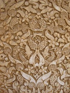 Picture of closeup of a plaster wall in the Alhambra Palace, Granada, Andalusia, Spain stock photo, images and stock photography. Arabesque Pattern, Arabic Pattern, Book Of Kells, Textured Wallpaper, Moorish, Stone Carving, Art And Architecture, Islamic Architecture, Amazing Architecture