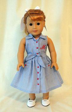American Girl Dolls : Skirt and Blouse for Maryellen American Girl Outfits, American Girl Dress, American Girl Crafts, American Doll Clothes, American Girls, Sewing Doll Clothes, Girl Doll Clothes, Doll Clothes Patterns, Girl Dolls