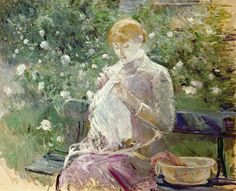 Pasie sewing in Bougivals Garden Painting - Pasie sewing in Bougivals Garden Fine Art Print - Berthe Morisot