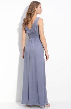 Amsale slate grey bridesmaid silk chiffon dress - back