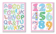 The Kids Room Pink Letters and Numbers 2 pc Wall Plaque Set