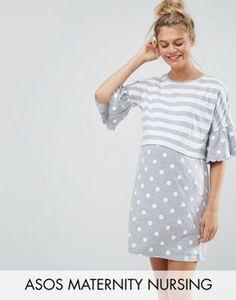 d3ab032a1a315 ASOS Maternity NURSING Stripe & Spot Night Tee Maternity Pajamas, Maternity  Nursing Dress,