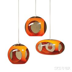 "Three Luigi Colani (b. 1928) ""UFO Space Age"" Hanging Lamps"