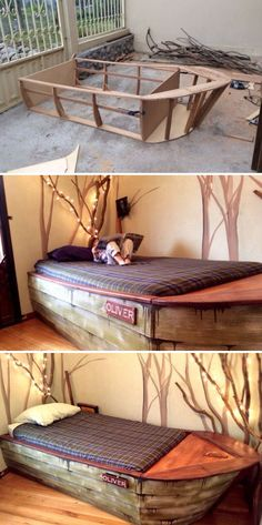 Boat Bed With Secret Compartments When Jameson gets big enough for a twin size bed, I hope to make him one like this. I think it's just totally cool. Only exception being more pull out drawers on the side. to be used for linen or for clothes.