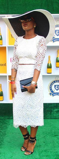 white two piece 'dress'. Love the whole outfit. Genevieve Magazine Fashion & Style Day Out / Naija Deevas
