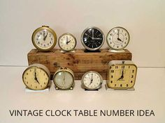 A table number idea for a vintage wedding using old clocks.