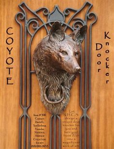 antique brass door knocker with peephole unique bronze coyote unusual knockers for sale