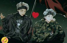 If yoongi ever did have that hairstyle, it would be my cause of death Jungkook Jimin, Bts Taehyung, Bts Anime, Anime Guys, Yoonmin, Taekook, V Chibi, Dibujos Cute, Fanarts Anime