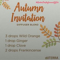 I diffuse oils everyday and I love new recipes. Here's a fun diffuser blend for fall. Enjoy!