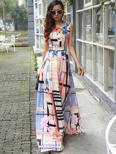 Ericdress Plaid imprimé floral manches Expansion Maxi Dress Robe maxi