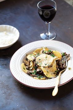 Serravalle Scrivia native and local cook Davide Gheezi makes this pasta dish with mushrooms that have been foraged, dried, and stored over the winter. The silver-dollar-size rounds of corzetti (sometimes called croxetti) are elevated with a mushroom sauce bolstered by a savory veal stock.