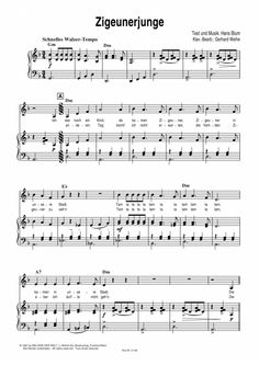 Zigeunerjunge (Klavier + Gesang) Alexandra >>> KLICK auf die Noten um Reinzuhören <<<