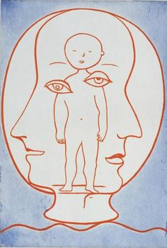 Self Portrait by Louise Bourgeois, 1990, Drypoint, etching, and aquatint.