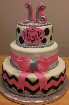 Sweet 16 chevron monogram cake
