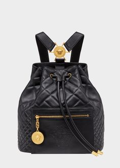 Versace Medusa Quilted Backpack for Women Red Backpack, Backpack Bags, Fendi, Versace Bag, Versace Purses, Unique Handbags, Bag Icon, Printed Bags, Luxury Bags