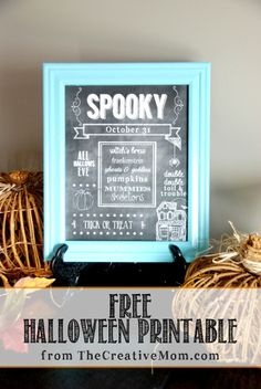Free Halloween Chalkboard Printables. These are perfect for fall or halloween decorations. Plus there are lots of other halloween decorating ideas on this blog.