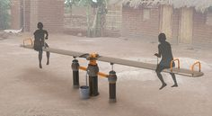 OasiSaw is an innovative water pump system that utilizes human play to extract ground water. The iconic seesaw design harnesses energy created during play Water Pump System, Water Filtration System, Drinking Fountain, Drinking Water, Urban Furniture, Luxury Furniture, Landscaping Equipment, Chicago Furniture, Kids Play Area