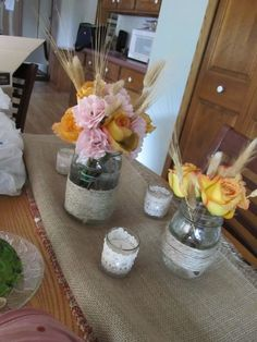 DIY Fall mason jar centerpiece :  wedding centerpieces diy ivory pink reception IMG 2626