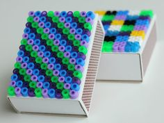 hama beads on matchboxes | DIY: http://pysselbolaget.se/2012/09/25/tandsticksaskarmatchboxes/