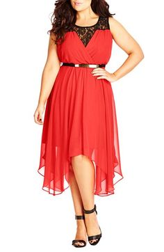 City+Chic+Belted+Lace+Contrast+Back+Keyhole+Dress+(Plus+Size)+available+at+#Nordstrom