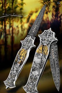 Knife Engraving by Simone Fezzardi - 2017 (Birds of the Forest Theme) Neck Bones, Engraved Pocket Knives, Engraving Art, Forest Theme, Knife Art, Airsoft Guns, Knives And Tools, Kitchen Knives, Metal Working