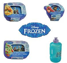 Disney Frozen Kids 8 Piece Reusable Lunch Set - Water Bottle Sandwich Snack and Salad Containers @ niftywarehouse.com #NiftyWarehouse #Frozen #FrozenMovie #Animated #Movies #Kids