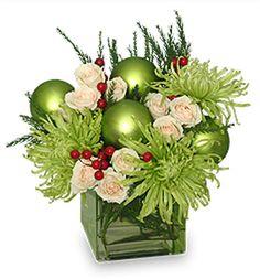Glam Green Christmas Flowers from Dragonfly Flowers in Winnipeg Christmas Flower Arrangements, Christmas Table Centerpieces, Christmas Flowers, Xmas Decorations, Floral Arrangements, Christmas Wreaths, Green Christmas, Wedding Centerpieces, Centrepieces