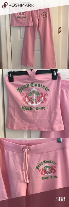 NWT Juicy Couture Top & Bottom Outfit Size Medium This is new with tags juicy could tour top and bottom of it. The front door again the club has asked to a 1963. They say they are a size medium but fits very very small measurements are as follows the top Chest, are put to are put is approximately 13 1/2 inches there is a little stretch but not much from the top. The bottom measures 13 3/4 inches. The bottoms are 13 inches hip to hip. And the inseam is 33 1/2 inches. No trades. Reasonable…