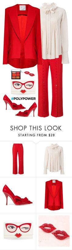 """""""Red & Ruffles"""" by musicfriend1 ❤ liked on Polyvore featuring Rosie Assoulin, Chloé, Miu Miu, Kate Spade, MAC Cosmetics and PolyPower"""
