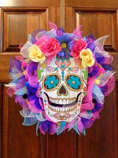 Day of the Dead Mesh Wreath DIY From Dollar Tree Finds Dollar Tree Halloween, Halloween Crafts, Halloween Stuff, Halloween Decorations, Halloween Wreaths, Halloween Crochet, Halloween Christmas, Halloween Makeup, Holiday Crafts